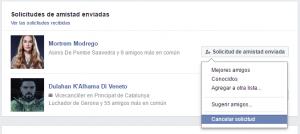 cancelar solicitud amistad Facebook