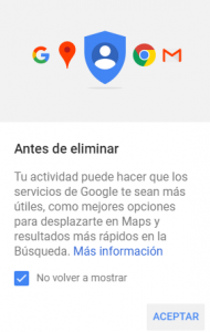 Alerta Google antes de eliminar tus datos de navegación
