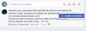 bloquear comentarios en Facbook
