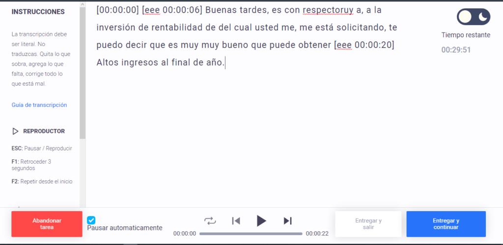 Audio para transcribir en Atexto